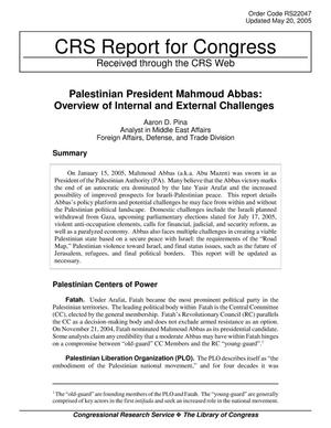 Primary view of object titled 'Palestinian President Mahmoud Abbas: Overview of Internal and External Challenges'.
