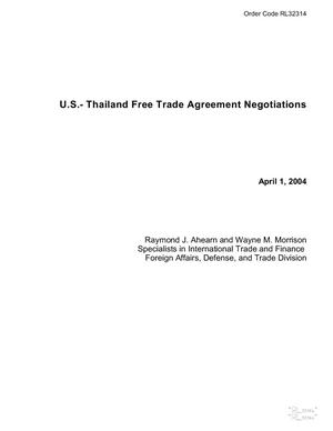 Primary view of object titled 'U.S.- Thailand Free Trade Agreement Negotiations'.