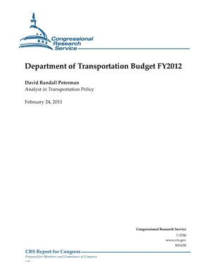 Primary view of object titled 'Department of Transportation Budget FY2012'.