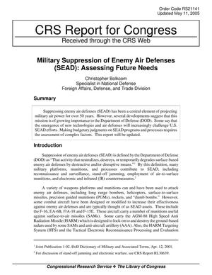 Primary view of object titled 'Military Suppression of Enemy Air Defenses (SEAD): Assessing Future Needs'.