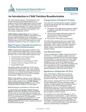 Primary view of object titled 'An Introduction to Child Nutrition Reauthorization'.