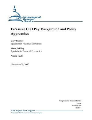 Primary view of object titled 'Excessive CEO Pay: Background and Policy Approaches'.