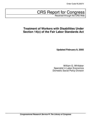 Primary view of object titled 'Treatment of Workers with Disabilities Under Section 14(c) of the Fair Labor Standards Act'.