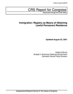 Primary view of object titled 'Immigration: Registry as Means of Obtaining Lawful Permanent Residence'.