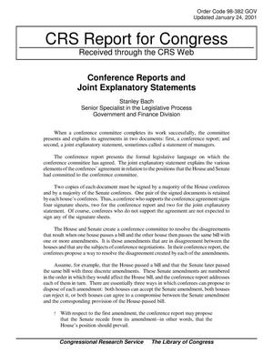 Primary view of object titled 'Conference Reports and Joint Explanatory Statements'.