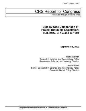 Primary view of object titled 'Side-by-Side Comparison of Project BioShield Legislation: H.R. 2122, S. 15, and S. 1504'.