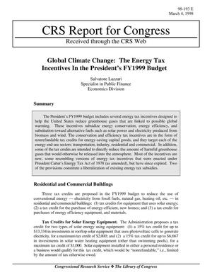 Primary view of object titled 'Global Climate Change: The Energy Tax Incentives In the President's FY1999 Budget'.