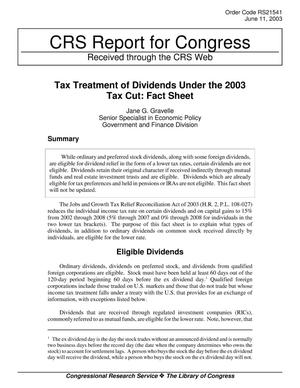 Primary view of object titled 'Tax Treatment of Dividends Under the 2003 Tax Cut: Fact Sheet'.