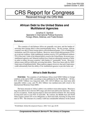 Primary view of object titled 'African Debt to the United States and Multilateral Agencies'.