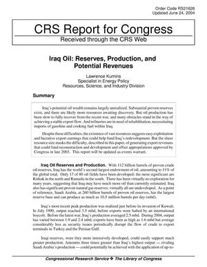 Primary view of object titled 'Iraq Oil: Reserves, Production, and Potential Revenues'.