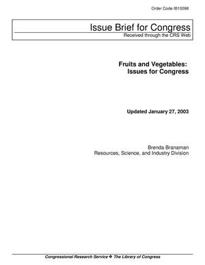Primary view of object titled 'Fruits and Vegetables: Issues for Congress'.