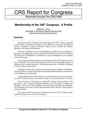 Primary view of object titled 'Membership of the 108th Congress: A Profile'.