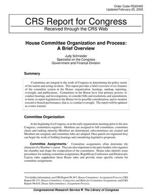 Primary view of object titled 'House Committee Organization and Process: A Brief Overview'.