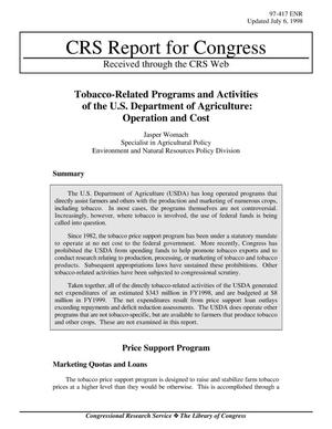 Primary view of object titled 'Tobacco-Related Programs and Activities of the U.S. Department of Agriculture: Operation and Cost'.