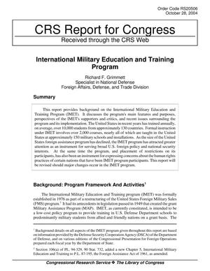 Primary view of object titled 'International Military Education and Training Program'.