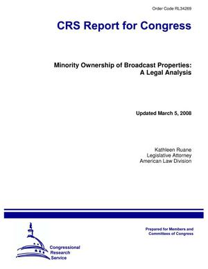 Primary view of object titled 'Minority Ownership of Broadcast Properties: A Legal Analysis'.