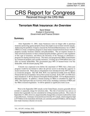 Primary view of object titled 'Terrorism Risk Insurance: An Overview'.