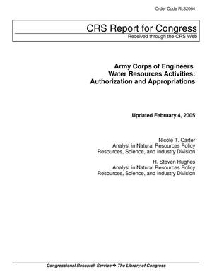 Primary view of object titled 'Army Corps of Engineers Water Resources Activities: Authorization and Appropriations'.