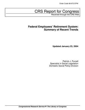 Primary view of object titled 'Federal Employees' Retirement System: Summary of Recent Trends'.
