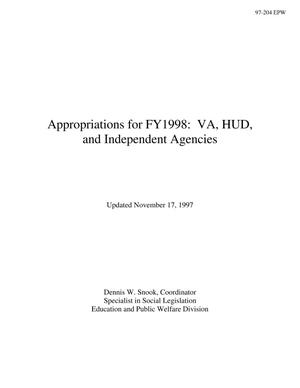 Primary view of object titled 'Appropriations for FY1998: VA, HUD, and Independent Agencies'.