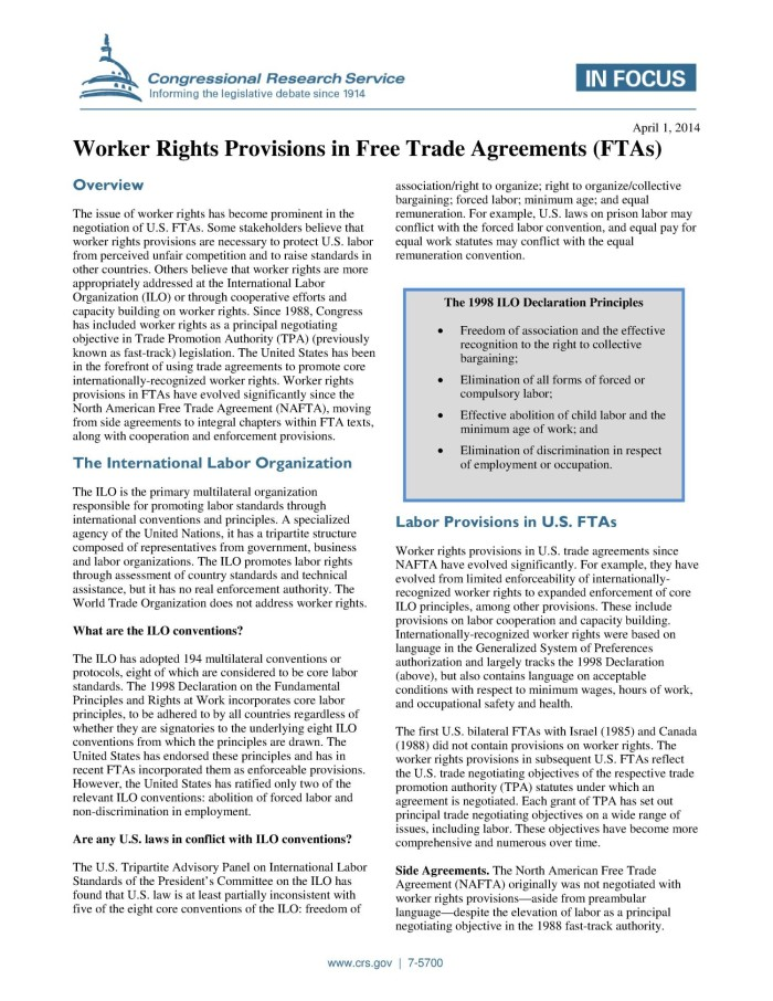 Worker Rights Provisions In Free Trade Agreements Ftas Digital