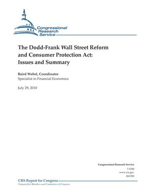 Primary view of object titled 'The Dodd-Frank Wall Street Reform and Consumer Protection Act: Issues and Summary'.