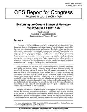 Primary view of object titled 'Evaluating the Current Stance of Monetary Policy Using a Taylor Rule'.