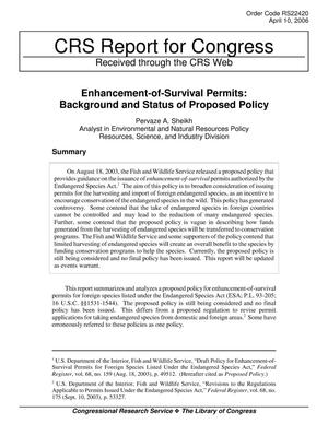 Primary view of object titled 'Enhancement-of-Survival Permits: Background and Status of Proposed Policy'.