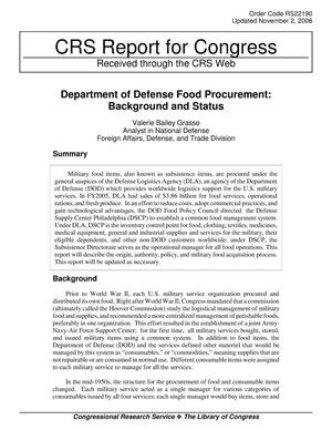 Primary view of object titled 'Department of Defense Food Procurement: Background and Status'.