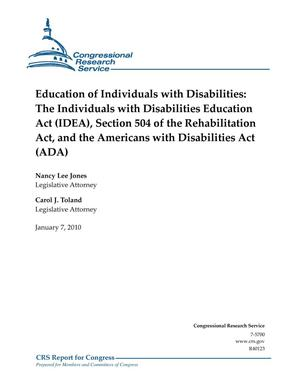 Primary view of object titled 'Education of Individuals with Disabilities: The Individuals with Disabilities Education Act (IDEA), Section 504 of the Rehabilitation Act, and the Americans with Disabilities Act (ADA)'.