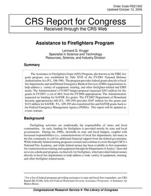 Primary view of object titled 'Assistance to Firefighters Program'.