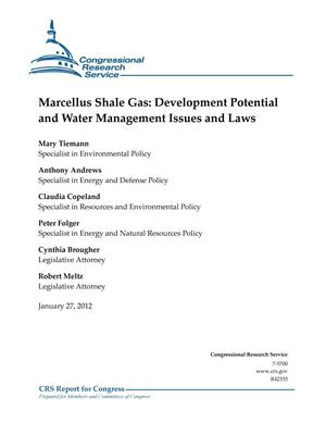 Primary view of object titled 'Marcellus Shale Gas: Development Potential and Water Management Issues and Laws'.