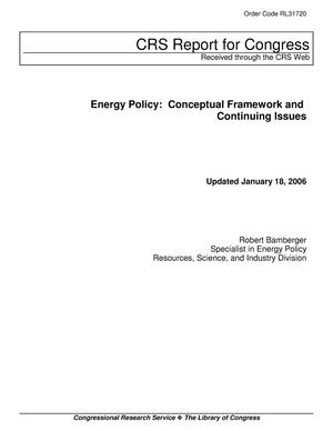 Primary view of object titled 'Energy Policy: Conceptual Framework and Continuing Issues'.
