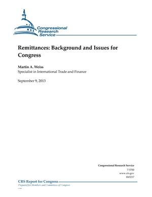 Primary view of object titled 'Remittances: Background and Issues for Congress'.