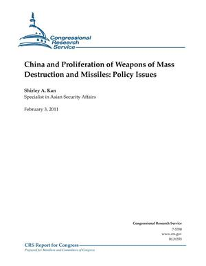 Primary view of object titled 'China and Proliferation of Weapons of Mass Destruction and Missiles: Policy Issues'.