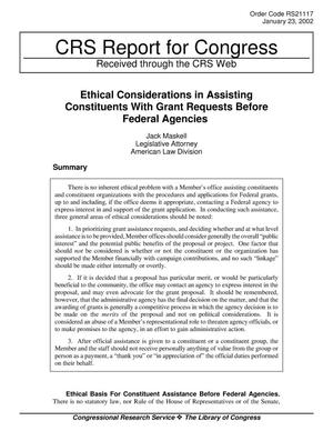 Primary view of object titled 'Ethical Considerations in Assisting Constituents With Grant Requests Before Federal Agencies'.