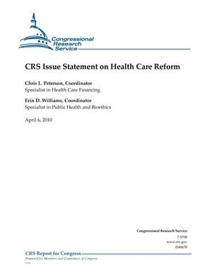 Primary view of object titled 'CRS Issue Statement on Health Care Reform'.