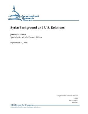 Primary view of object titled 'Syria: Background and U.S. Relations'.