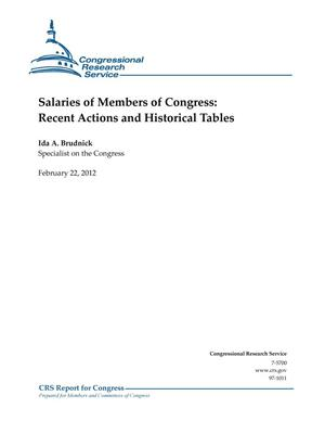 Primary view of object titled 'Salaries of Members of Congress: Recent Actions and Historical Tables'.