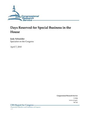 Primary view of object titled 'Days Reserved for Special Business in the House'.