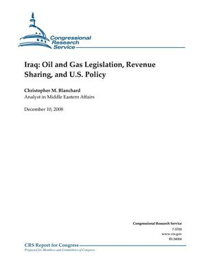 Primary view of object titled 'Iraq: Oil and Gas Legislation, Revenue Sharing, and U.S. Policy'.
