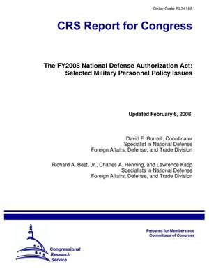 Primary view of object titled 'The FY2008 National Defense Authorization Act: Selected Military Personnel Policy Issues'.