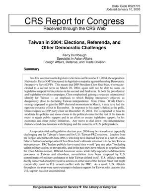 Primary view of object titled 'Taiwan in 2004: Elections, Referenda, and Other Democratic Challenges'.