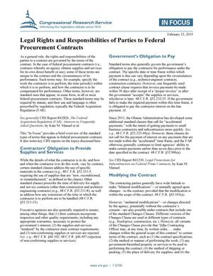 Primary view of object titled 'Legal Rights and Responsibilities of Parties to Federal Procurement Contracts'.