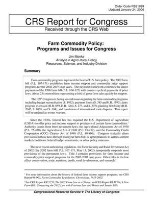 Primary view of object titled 'Farm Commodity Policy: Programs and Issues for Congress'.