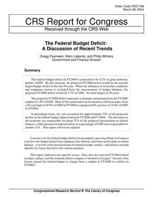 Primary view of object titled 'The Federal Budget Deficit: A Discussion of Recent Trends'.