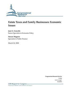 Primary view of object titled 'Estate Taxes and Family Businesses: Economic Issues'.