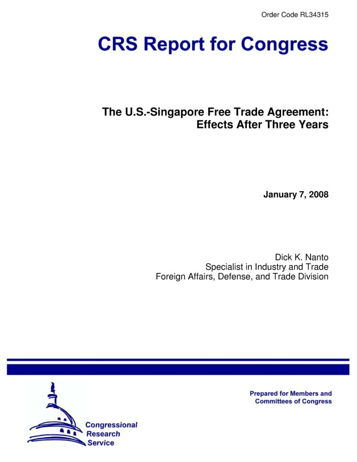 The Us Singapore Free Trade Agreement Effects After Three Years