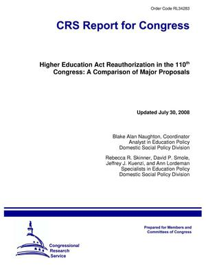 Primary view of object titled 'Higher Education Act Reauthorization in the 110th Congress: A Comparison of Major Proposals'.