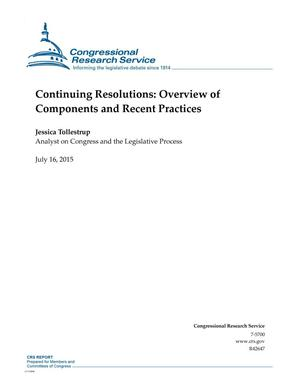 Primary view of object titled 'Continuing Resolutions: Overview of Components and Recent Practices'.